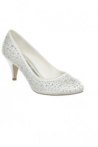avec Cérémonie fermée P talon décor femme Chaussure 40 Blanc EwUXHq5x