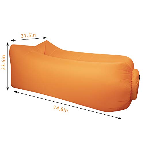 hybag Inflatable Lounge Air Sofa Sleeping Bag, Portable Waterproof Air Hammock Lounger for Festival and Holiday Parties(Orange)