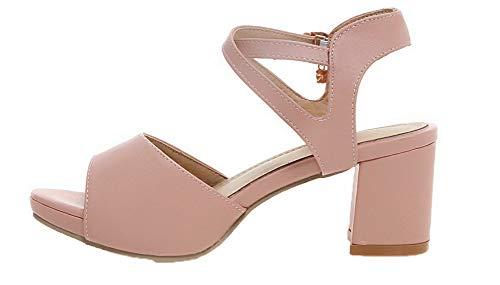 Sandales à Ouverture TSFLH007047 Couleur Cuir Femme Correct Talon PU Rose AalarDom Unie Petite wqfv04X