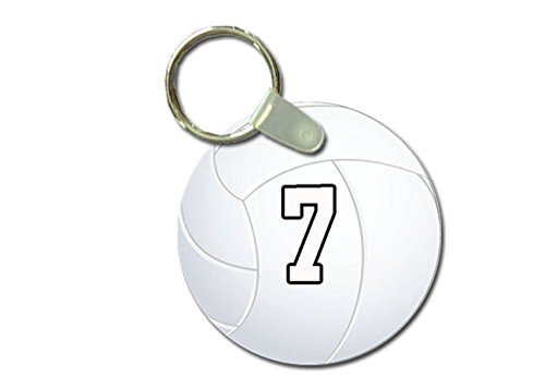 (TYD Designs Key Chain Sports Volleyball Customizable 2 Inch Metal and Fully Assembled Ring with Any Team Jersey Player Number 7)