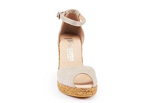 VISCATA Caprubi Elegant Comfort, Soft Suede, Ankle-Strap, Open Toe, Espadrilles with 3-inch Heel Made in Spain (Nude)