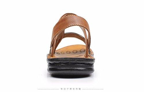 Sommer Männer Sandalen Strand Schuh Männer Atmungsaktiv Freizeit Leder Männer Schuh Das neue Rutschfest Sandalen ,braun ,US=9.5,UK=9,EU=43 1/3,CN=45