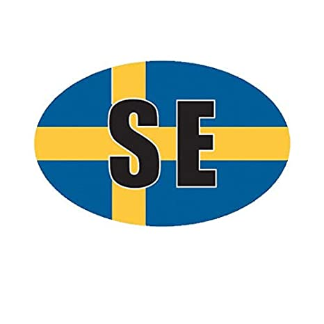 Sweden Oval Sticker Decal Vinyl Swedish Country Code euro SE v3