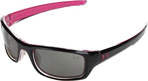 Under Armour Surge Crystal Frame, with Shiny Black Top Spray & Magenta Bottom Spray with Frosted Clear Rubber and Gray Lens