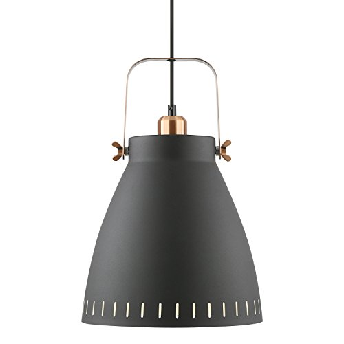 Light Society Grigsby Pendant Light, Sand Textured Black Shade with Brushed Copper Finish, Modern Industrial Farmhouse Lighting Fixture (LS-C202-BLK)