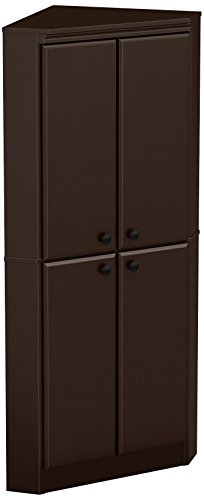 South Shore 4-Door Corner Armoire for Small Space with Adjustable Shelves, Chocolate