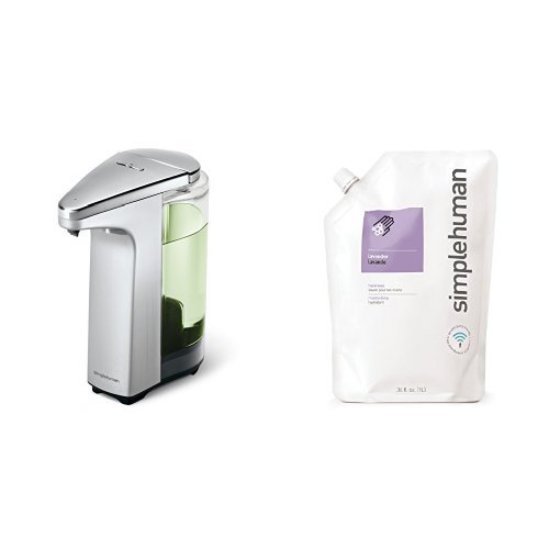 simplehuman 8 oz. sensor soap pump with 34 oz. lavendar soap refill pack