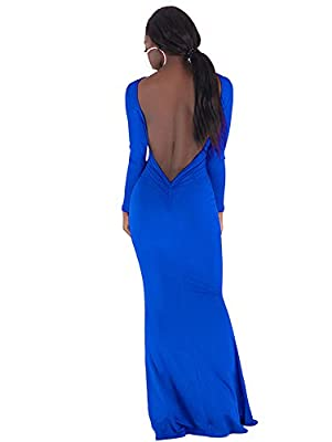 BEAGIMEG Women's Sexy Ruched Backless Long Sleeve Mermaid Evening Party Dress