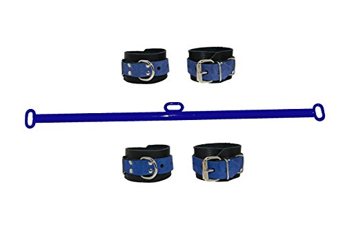 [Blue and Black Leather Wrist and Ankle Cuffs and a 24