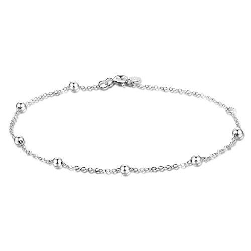 Dainty Bracelets for Women Sterling Silver, Thin Chain Bead Ball Bracelet, 7