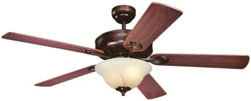 Westinghouse Lighting 7879900 Bethany One-Light 52-Inch Five-Blade Ceiling Fan, Rustic Bronze with Cr me Agate Globe