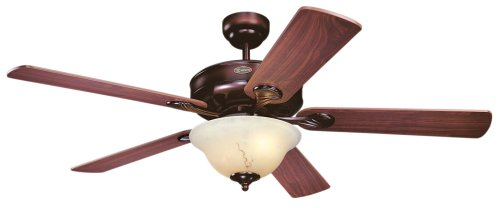 Westinghouse Lighting 7879900 Bethany One-Light 52-Inch Five-Blade Ceiling Fan, Rustic Bronze with Crème Agate Globe