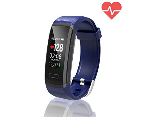 TEMEXE Fitness Tracker with Color Display Activity Watch Smart Band with Heart Rate Sleep Monitor IP67 Waterproof Call Message SNS Reminder Wearable Pedometer Wristband for Android iOS Blue