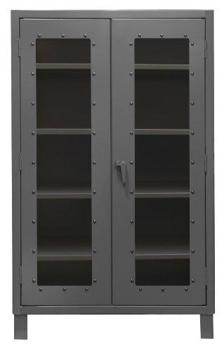 Durham Extra Heavy Duty Welded 12 Gauge Steel Clearview Lockable Storage Cabinet with Lexan Door, HDCC244878-4S95,  1200 lbs Shelf Capacity,  24