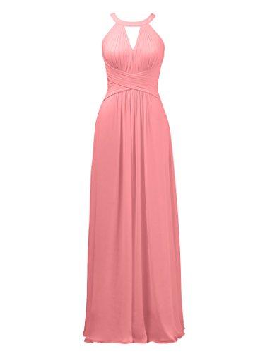Evening Bridesmaid Pink Coral Wedding Keyhole Maxi Formal Long Prom Gown Alicepub Dress qw6nxU1gqX