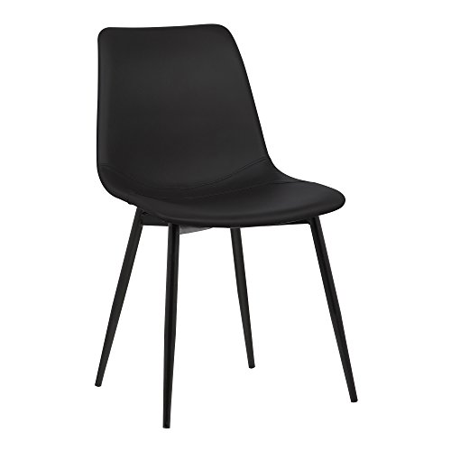 LACK Monte Dining Chair in Black Faux Leather and Black Powder Coat Finish ()