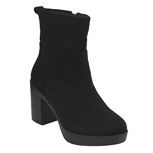 Beston EI88 Women's Side Zipper Platform Block Heel Quilted Ankle Booties, Color:BLACK, Size:9 (Quilted Blocks)