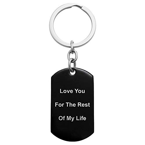 (Queenberry One Side Personalized Text Laser Engraving Stainless Steel Custom Dog Tag Key Chain - Handmade)