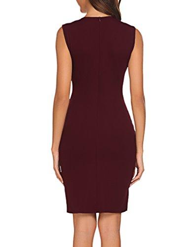 Naggoo Women's Business Wear To Work Sleeveless V Neck Bodycon Pencil Dress, Wine Red, 4/6 by Naggoo (Image #2)