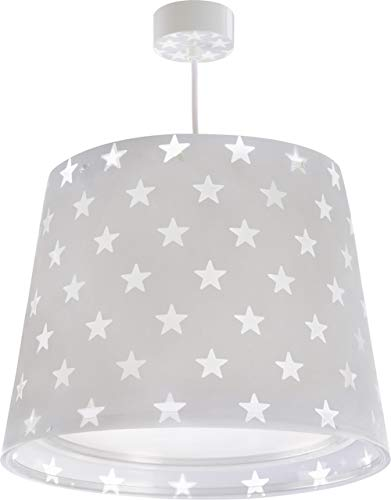 Dalber Kinder Hängelampe Sterne Grau Stars, Plastik, E27, Grey, 33 x 33 x 25 cm