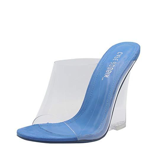 Cape Robbin Women's Transparent Lucite Clear Wedge Heel PVC Open Toe Slip On Mules Lemonade (6, Clear Blue)