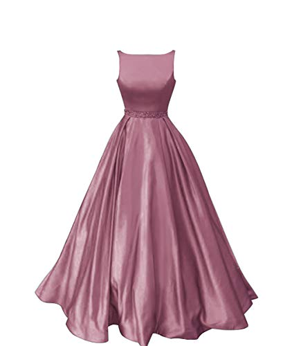 Staypretty Prom Dresses Long Satin Beaded A-line Formal Dress for Women with Pockets 2019 Dusty Rose Size 8