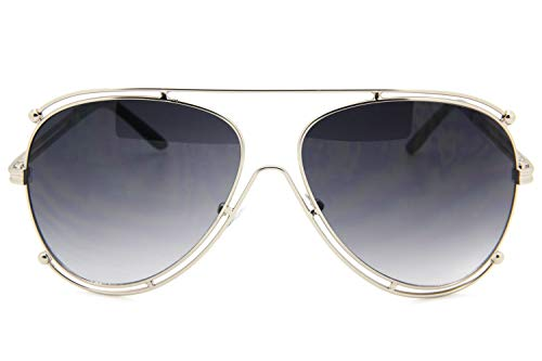 (Black On Silver Designer Inspired Double Wire Large Sunglasses Metal Frame Women)