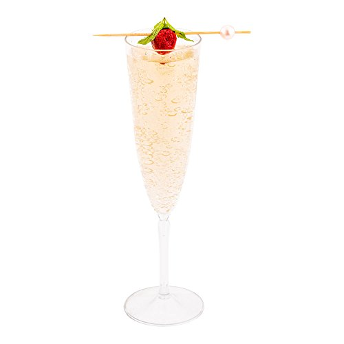 Clear Plastic Champagne Flute - 4 oz - Catering, Weddings, Banquets - One Piece Design - 100ct Box - Restaurantware