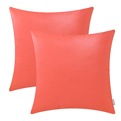 BRAWARM Cozy Throw Pillow Covers Cases for Couch Sofa Bed Solid Faux Leather Soft Cushion Covers Durable Pillowcase Home Decoration Accent Both Sides 16 X 16 Inches Living Coral Pack (Best Cases For Sofas)