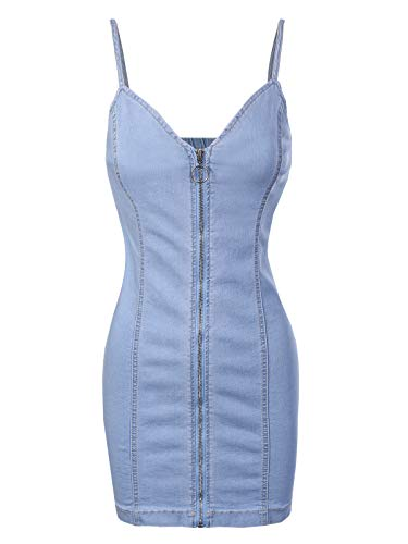 Front Denim Mini Dress - Design by Olivia Women's Spaghetti Strap Slim Fit Front Zipper Up Denim Mini Bodycon Dress Light Blue M