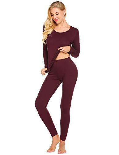 Langle Women's Long Johns Crew Neck Underwear Soft Cotton Blend Shirt & Pants Base Layers (Wine Red, Large)
