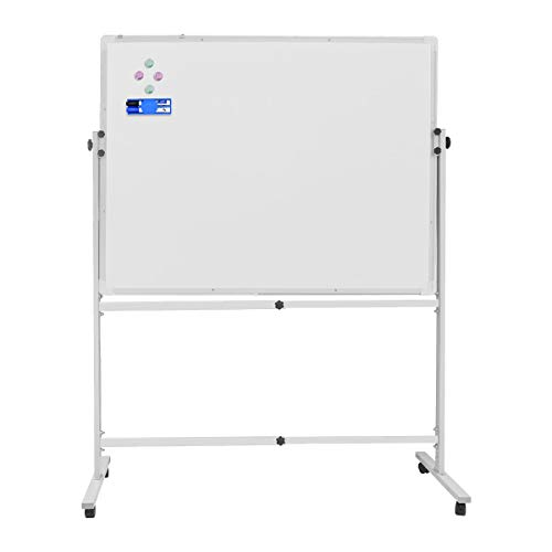 Mobile Magnetic Whiteboard Dry Erase Board With Rolling Stand Including 1 Eraser, 2 Markers and 4 Magnetic Nails (48