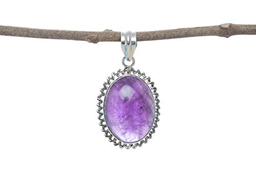 925 Sterling Silver Natural Amethyst Gemstone Designer Pendant Necklace Healing Stone ()