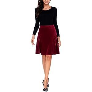 Zeagoo-a-line-plisado-cintura-alta-Midi-Falda-de-terciopelo-clsico-Flare-faldas-para-mujer