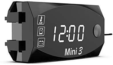 Rot Motorrad SUNJULY Auto Digital Voltmeter Indoor 12 V 3 In 1 Voltmeter Uhr Thermometer Mit Digital Led-Anzeige Tragbar IP67 Wasserdicht F/ür Auto Outdoor