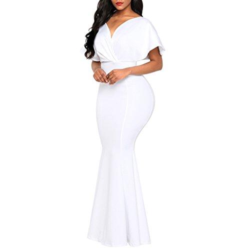 m Vestido Espalda Corta de DOLITY Especial D Sin Chica Manga Regalo Ocasión blanco Mujer Boho Estilo f1wZx