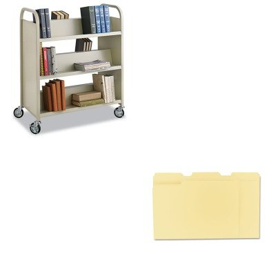 KITSAF5357SAUNV12113 - Value Kit - Safco Steel Slant Shelf Book Cart (SAF5357SA) and Universal File Folders (UNV12113) by Safco