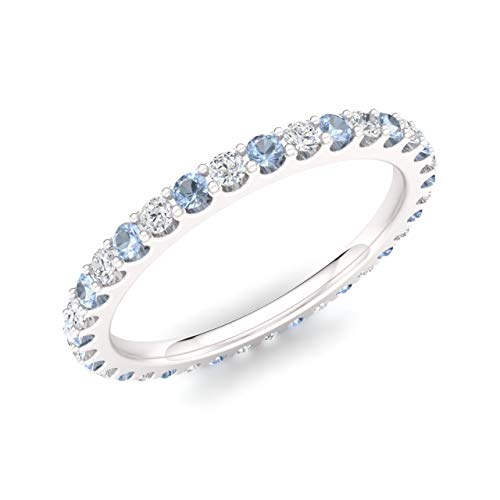 Diamondere Natural and Certified Aquamarine and Diamond Wedding Ring in 14K White Gold | 0.80 Carat Full Eternity Stackable Band for Women, US Size 7.5 ()