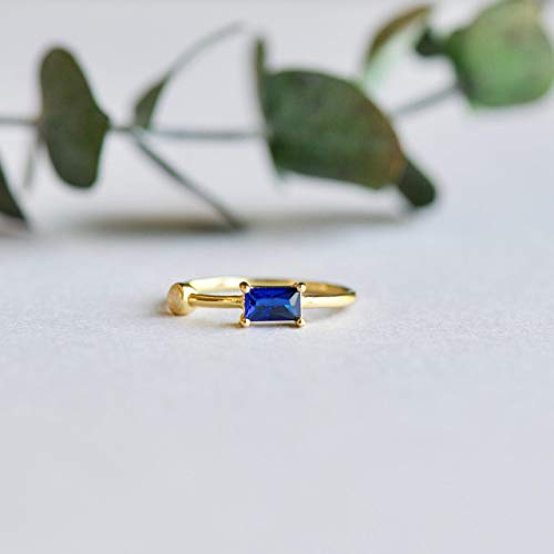 14k Gold Vermeil Ring, Moonstone Ring, Baguette Ring, Blue Ring, 925 Sterling Silver Ring, Rose and Choc ()