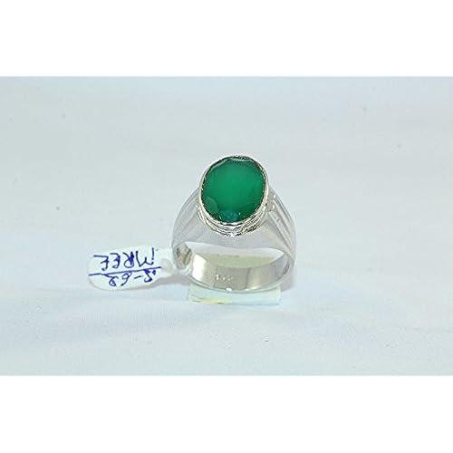 abf0889a255f Rajasthan Gems 92.5 - Anillo de plata de ley con sello de ónix verde para  hombre