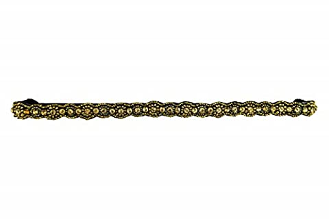 Pink Pewter Women's Gold Hand Beaded Sloan Stretch Headband Gold One Size (Pink Pewter Headband Gold)