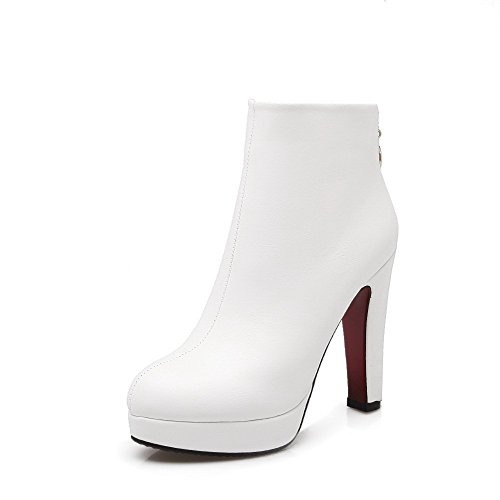 Soft Women's Ankle high Boots White Solid Heels Toe Closed AmoonyFashion Round High Material RqYTTd
