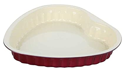 Wonderchef Carbon Steel Heart Cake Mould, 1.5 Litres/28cm, White/Maroon