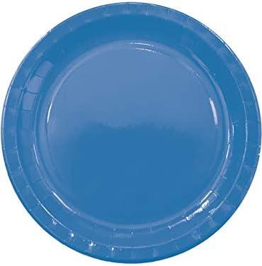 Set van 8 grote Solide Blauwe borden