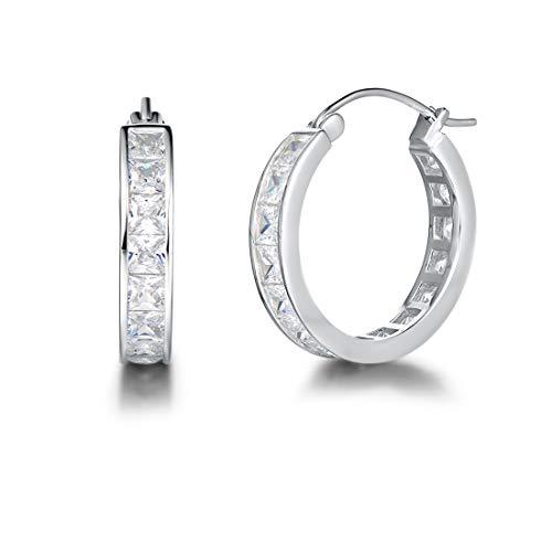 Carleen Sterling Silver Channel Setting Princess Cut CZ Cubic Zirconia Simulated Diamond Click-top Medium Huggie Hoop Earrings Fine Jewelry For Women Girls Diameter 20mm