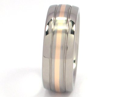 Titanium Wedding Ring With 14k Yellow Gold Inlay Mens Rings Bands