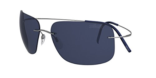 Silhouette - TMA ULTRA THIN 8677, Geometric, titanium, men, SILVER/BLUE(6232 - Sunglasses Silhouette