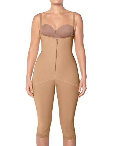 Leonisa Womens Capri Slimming Bodysuit Firm Compression Control Shaper,Beige,Small