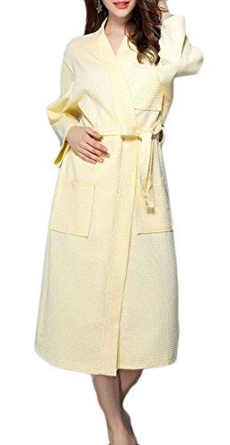 Etecredpow Womens Belted Waffle Plus Size Bathrobe Homewear Lounge Autumn Robe Yellow (Belted Waffle)