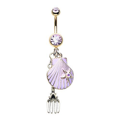 Golden Fairytale Dinglehopper Fork Shell WildKlass Belly Button Ring